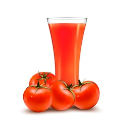 A glass of tomato juice and some ripe tomatoes vector