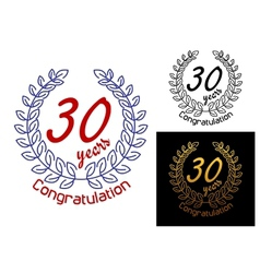 30 years anniversary congratulations badges vector