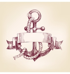 Anchor with a banner hand drawn llustration vector