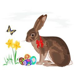 Easter little bunny with daffodils and butterflies vector
