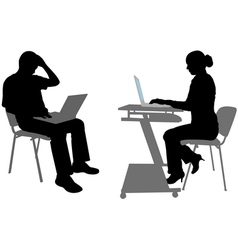 man and woman with laptops vector image