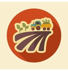 Tractor on field harvest seedling retro flat icon vector