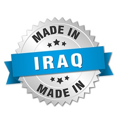 Made in iraq silver badge with blue ribbon vector