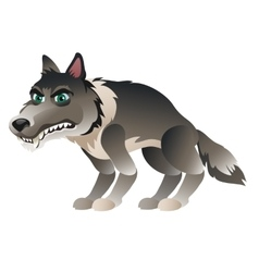 Wolf in cartoon style closeup isolated vector