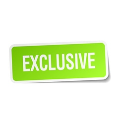 Exclusive green square sticker on white background vector