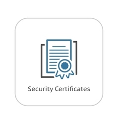 Security Certificates Icon Flat Design vector image