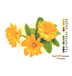 Bouquet with calendula the scheme for beadwork or vector