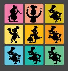 Chef Silhouette Symbols 1 vector image vector image