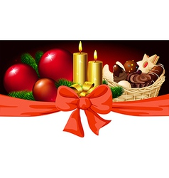 Christmas horizontal design with candle xmas ball vector image vector image