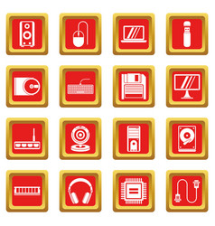 Computer icons set red vector