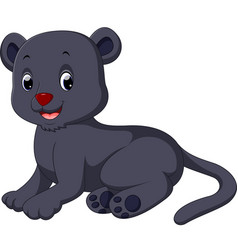 Cute black panther cartoon vector