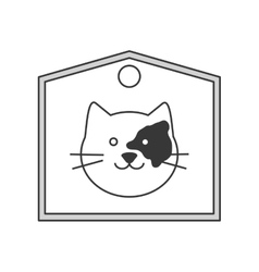 Cute cat cartoon on label icon vector