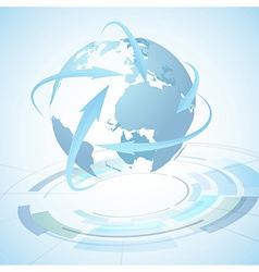 Earth over technological gear - abstraction vector