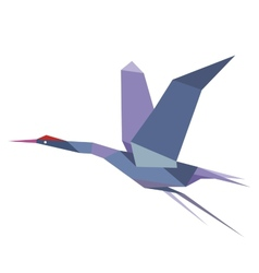 Elegant origami flying crane or heron vector image