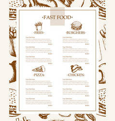Fast food - monochromatic hand drawn template menu vector