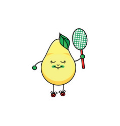 Flat sketch pear playing badminton vector