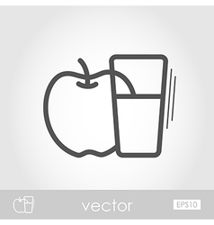 Glass fresh apple juice outline icon thanksgiving vector