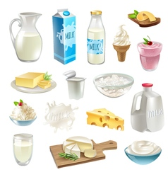 Milk Products Icons Set vector image vector image