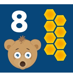 Number 8 - bear with eight cells of a honey comb vector
