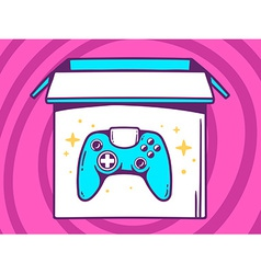 Open box with icon of joystick on pink p vector