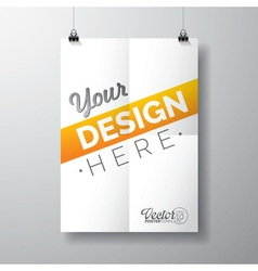 poster template of a folded paper sheet vector image
