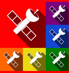 Satellite sign set of icons vector