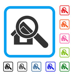 Search house framed icon vector