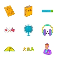 Translation of language icons set cartoon style vector