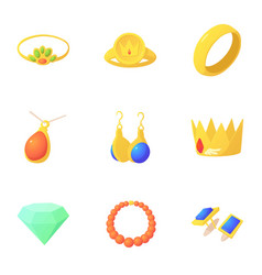 woman jewelry icons set cartoon style vector image