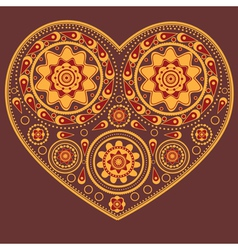 Yellow ornamental heart vector image vector image