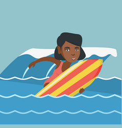 Young african-american surfer on a surfboard vector
