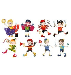 Amusing characters of boys in carnival costumes vector