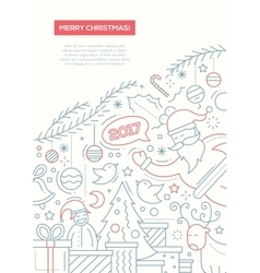 Merry christmas - line design brochure poster vector