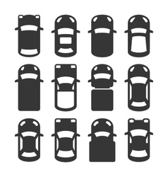 Car Top View Icons Set vector image