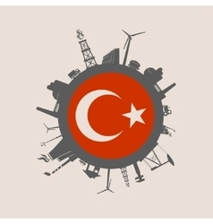 Circle with industrial silhouettes turkey flag vector