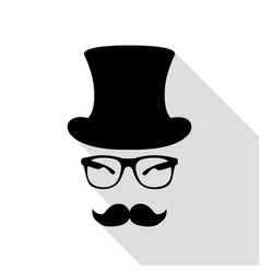 Hipster accessories design black icon with flat vector