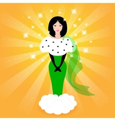 Elegant fairy princess in a green dress vector