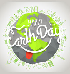 Happy earth day concept logo with the smile vector