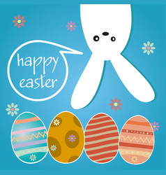 Happy easter hanging bunny background vector