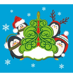 Christmas card with cute penguins vector