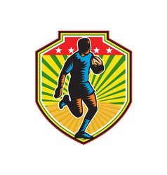 Rugby player running ball shield retro vector