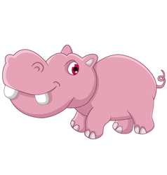 Cute hippo cartoon vector