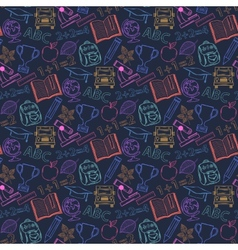 Neon seamless pattern back to schoolon a dark blue vector