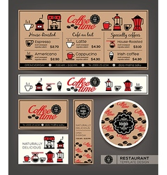 Coffee shop cafe set menu template vector