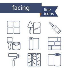 Set of line icons for diy finishing materials vector