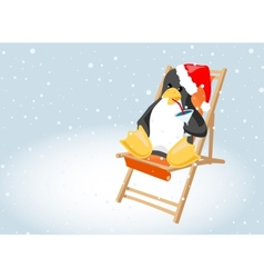 Penguin drinking a cocktail vector