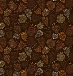 Seamless pattern of fashion man beards and vector