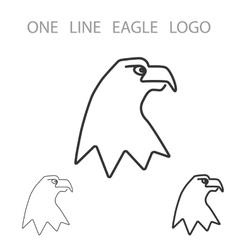 Eagle one line logo minimalism style logotype vector