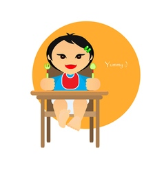 A small child sitting on the highchair flet style vector