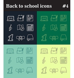 Back to school theme thin line icons vector image